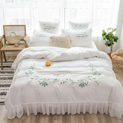 2019新款-單面水洗綢緞-舞動奇跡四件套(電子圖) 床單款四件套1.8m(6英尺)床 舞動奇跡-珍珠白