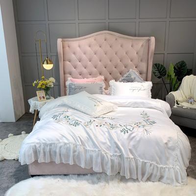2019新款-单面水洗绸缎-舞动奇迹四件套(实拍图) 床单款四件套1.8m(6英尺)床 舞动奇迹-珍珠白