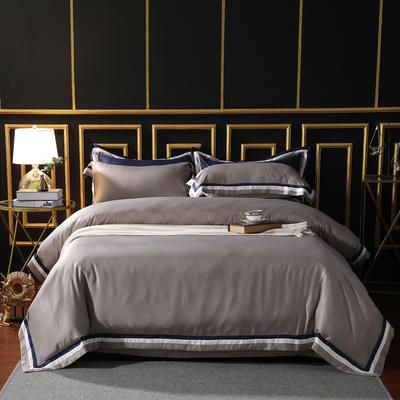 2019新款-水洗磨毛雙拼四件套 床單款三件套1.2m(4英尺)床 月球灰