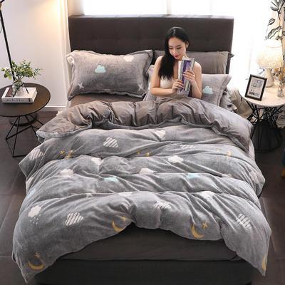 2019新款-雪花絨保暖四件套 床單款三件套1.2m(4英尺)床 云朵