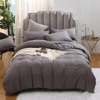 2019新款-水洗磨毛简约款四件套 床单款三件套1.2m(4英尺)床 银河灰