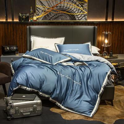 2019新款-60輕奢酒店風四件套 床單款1.5m(5英尺)床 賓利藍