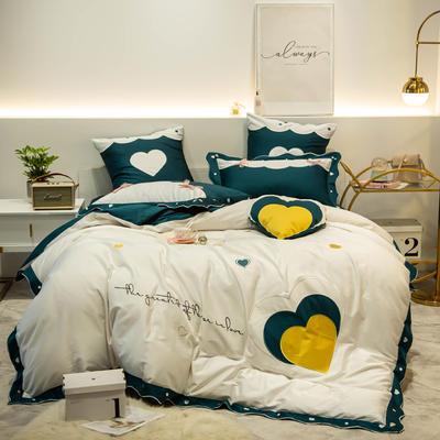 2019新款-60長絨棉四件套-愛的幻想 床單款1.5m(5英尺)床 愛的幻想-白