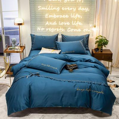 2019新款-60長絨棉簡韓版四件套-安妮 床單款四件套1.5m(5英尺)床 寶石藍