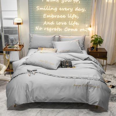 2019新款-60长绒棉简韩版四件套-安妮 床单款三件套1.2m(4英尺)床 浅灰
