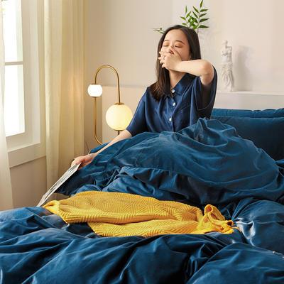 2019新款-保暖素色臻絲暖絨四件套系列 床單款1.5m(5英尺)床 藏寶藍