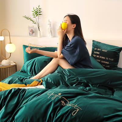 2019新款-保暖素色臻絲暖絨四件套系列 床單款1.8m(6英尺)床 祖母綠