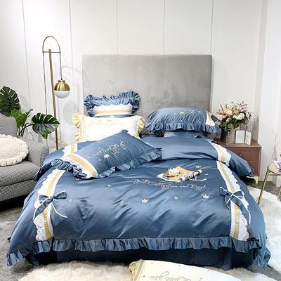 2019新款-60水洗綢緞四件套-萊茵少女 床單款1.5m(5英尺)床 賓利藍