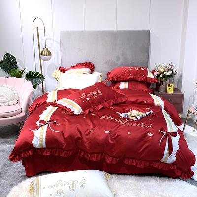 2019新款-60水洗绸缎四件套-莱茵少女 床单款1.8m(6英尺)床 中国红