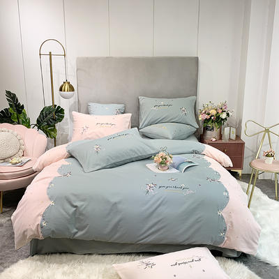 2019新款-加厚全棉磨毛四件套-花里间 床单款1.8m(6英尺)床 花里间-玉拼绿