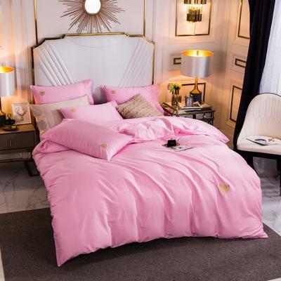 2019-60長絨棉素色刺繡款特價四件套 床單款1.5m(5英尺)床 芭比粉