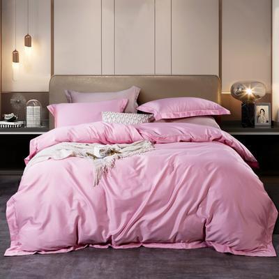 2020新款-60長絨棉素色寬邊款四件套 床單款1.5m(5英尺)床 芭比粉