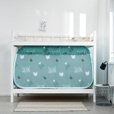 2019新款上下铺一体通用式式免安装蚊帐 90*190*100cm 可爱猫咪绿(白天款)