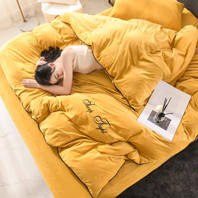 2019新款高克重簡約風水晶絨四件套 1.8m(6英尺)床 黃色
