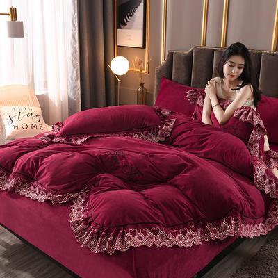 2019新款高克重水晶絨刺繡花邊款四件套 1.8m(6英尺)床 紅色