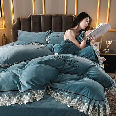 2019新款高克重水晶絨刺繡花邊款四件套 1.8m(6英尺)床 藍色
