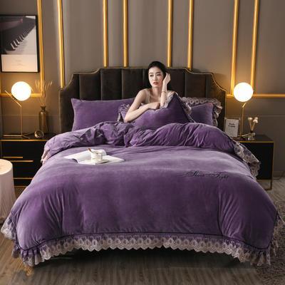 2019新款高克重水晶絨刺繡花邊款四件套 1.8m(6英尺)床 紫色