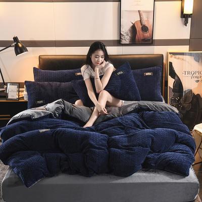 2019新款麥穗花法萊絨珊瑚絨四件套 1.8m(6英尺)床(床單款) 麥穗花-寶石藍