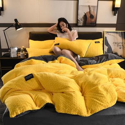 2019新款麥穗花法萊絨珊瑚絨四件套 1.8m(6英尺)床(床單款) 麥穗花-姜黃