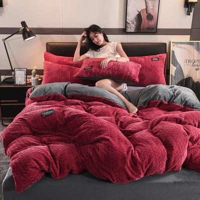 2019新款麥穗花法萊絨珊瑚絨四件套 1.8m(6英尺)床(床單款) 麥穗花-酒紅