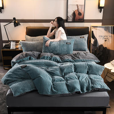 2019新款麥穗花法萊絨珊瑚絨四件套 1.8m(6英尺)床(床單款) 麥穗花-淺藍