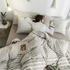 2019款全棉色织水洗棉套件布标款日系风四件套 (带模特) 1.2m(4英尺)床单款 渐变条-米