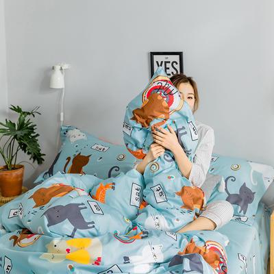 2019新款减龄卡通系列13372全棉四件套 1.2m床单款三件套 富士山的猫