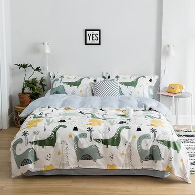 2019新款减龄卡通系列13372全棉四件套 1.2m床单款三件套 小恐龙灰