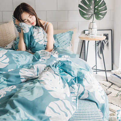 2019新款简约花卉系列活性全棉四件套 1.2m床单款三件套 芭蕉叶