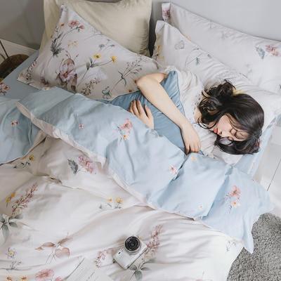 2019新款简约花卉系列活性全棉四件套 1.2m床单款三件套 水墨江南