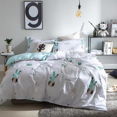 2019新款简约花卉系列活性全棉四件套 1.2m床单款三件套 仙人掌绿
