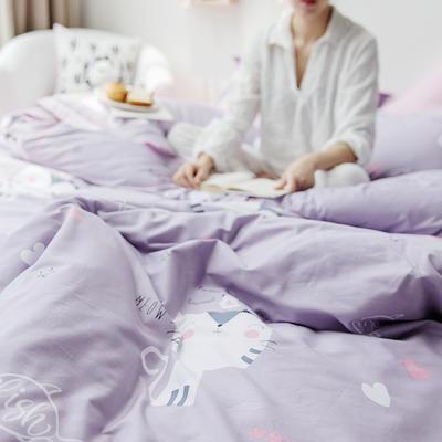 2019新款柔软舒适全棉活性四件套 1.2m床单款三件套 房东家的猫