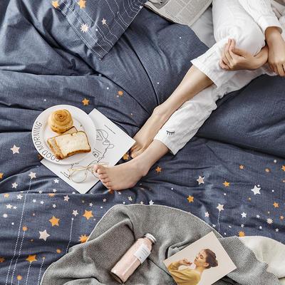 2019新款柔软舒适全棉活性四件套 1.2m床单款三件套 星星点灯