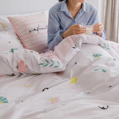 2019新款13372全棉四件套 1.2m床单款三件套 粉朵朵