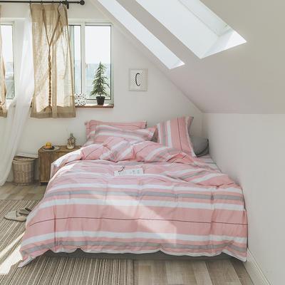 2019新款13372全棉活性四件套 1.2m床单款三件套 粉条纹