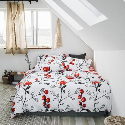 2019新款13372全棉活性四件套 1.2m床单款三件套 樱桃