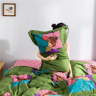2019新款-少女梦~田园花卉~13372甄选系列/减龄升级版卡通系列四件套 1.2m床单款三件套 晚晚(减龄卡通风)