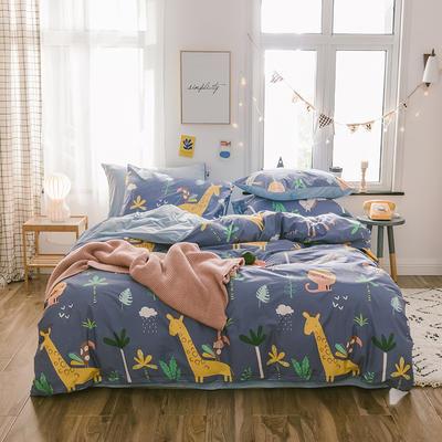 2019新款13372棉加绒水晶绒保暖四件套 床单款三件套1.2m(4英尺)床 动物派对棉加绒