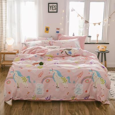 2019新款13372棉加绒水晶绒保暖四件套 床单款三件套1.2m(4英尺)床 独角兽棉加绒