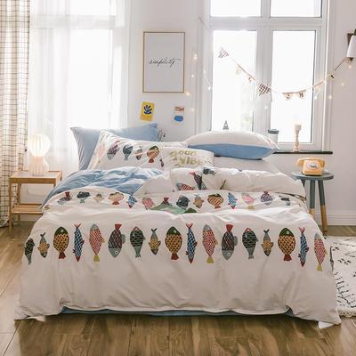 2019新款13372棉加绒水晶绒保暖四件套 床单款三件套1.2m(4英尺)床 锦鲤棉加绒