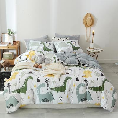 2019新款13372棉加绒水晶绒保暖四件套 床单款三件套1.2m(4英尺)床 恐龙世界棉加绒