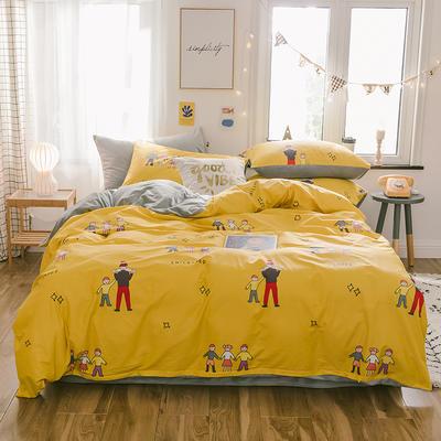 2019新款13372棉加绒水晶绒保暖四件套 床单款三件套1.2m(4英尺)床 美好童年棉加绒
