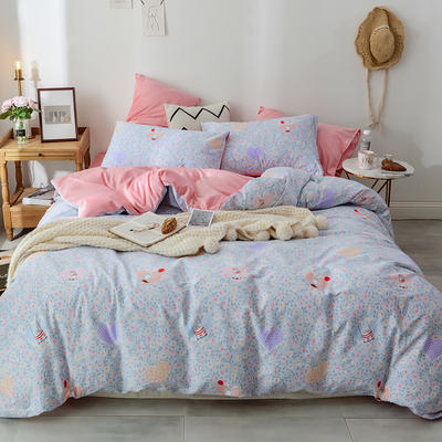 2019新款13372棉加绒水晶绒保暖四件套 床单款三件套1.2m(4英尺)床 梦奇棉加绒