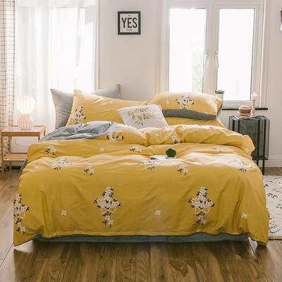 2019新款13372棉加绒水晶绒保暖四件套 床单款三件套1.2m(4英尺)床 沫沫黄棉加绒