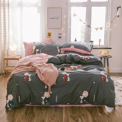 2019新款13372棉加绒水晶绒保暖四件套 床单款三件套1.2m(4英尺)床 史努比棉加绒