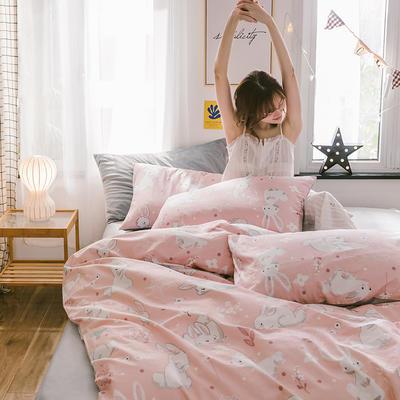 2019新款13372棉加绒水晶绒保暖四件套 床单款三件套1.2m(4英尺)床 天真兔粉棉加绒