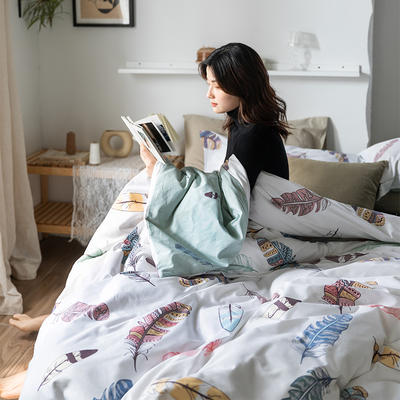 2020春夏新品-花卉风系列四件套 床单款三件套1.2m(4英尺)床 心情-白
