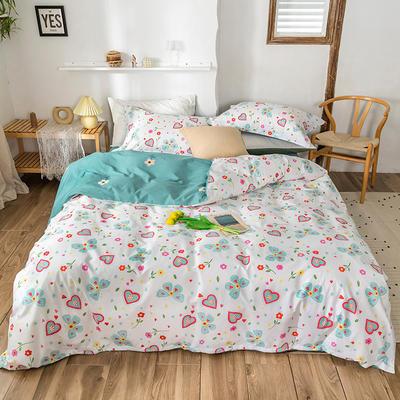 2020春夏新品-花卉风系列四件套 床单款三件套1.2m(4英尺)床 蝶影