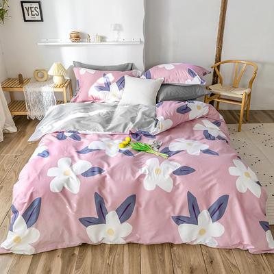 2020春夏新品-花卉风系列四件套 床单款三件套1.2m(4英尺)床 风韵-粉