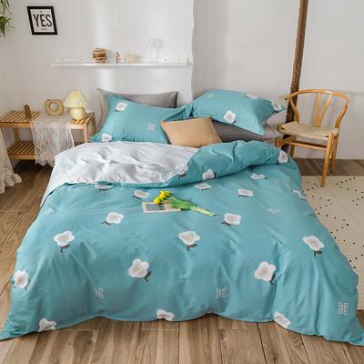 2020春夏新品-花卉风系列四件套 床单款三件套1.2m(4英尺)床 弗尼-蓝